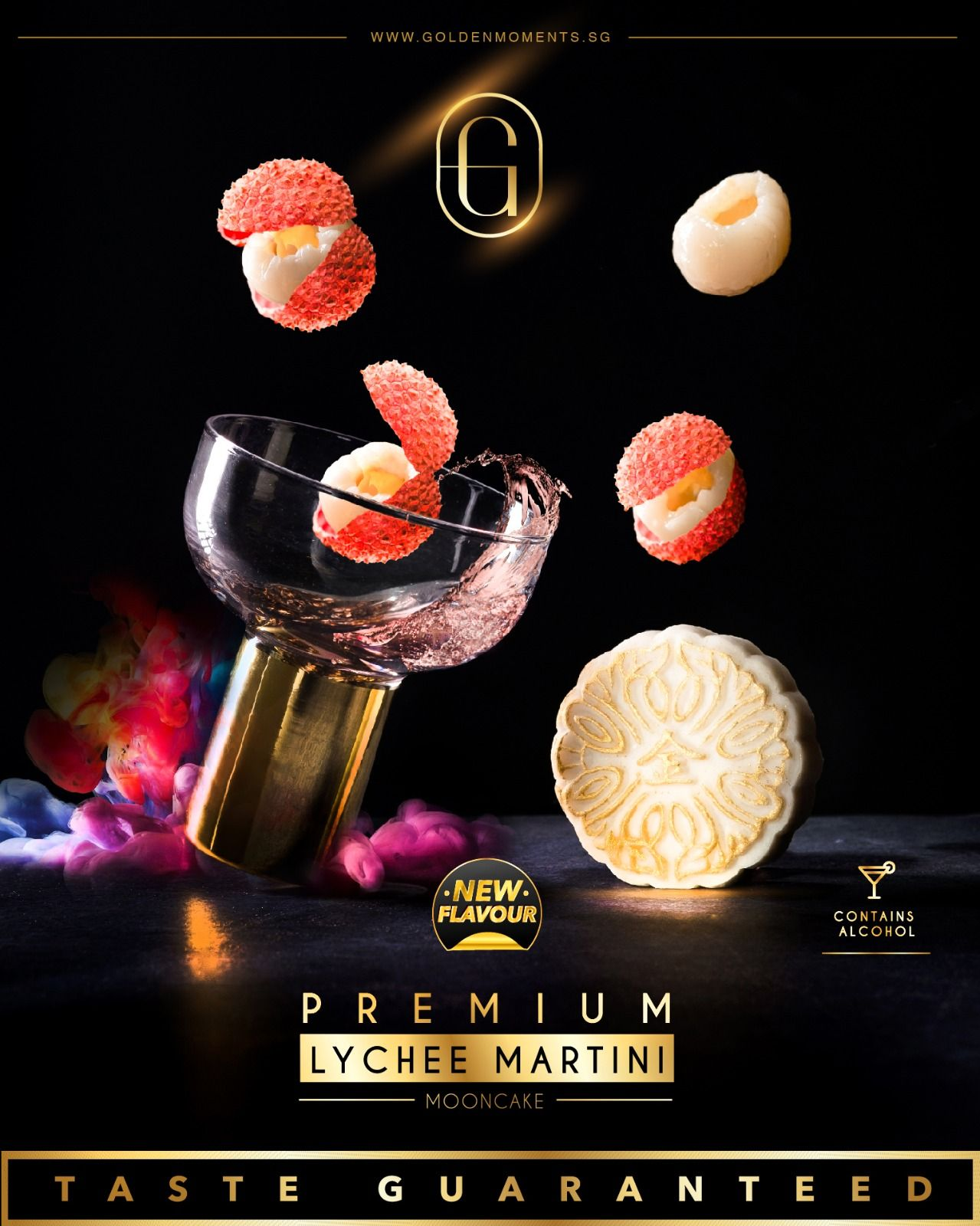Single Piece Premium Lychee Martini Snowskin Mooncake (1 Piece Only)