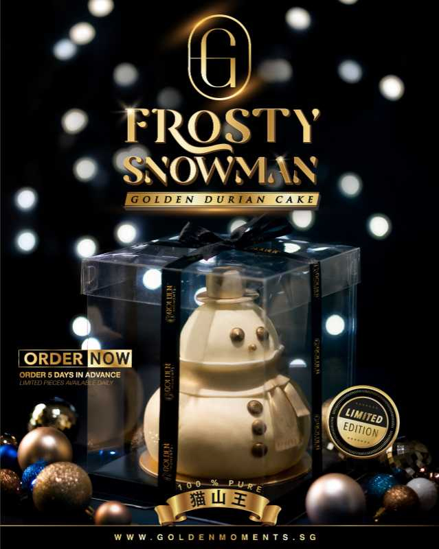 [PRE-ORDER 5 DAYS IN ADVANCE] Frosty Snowman Durian Cake [DELIVERY & COLLECTION STARTS FROM 9 DEC ONWARDS]